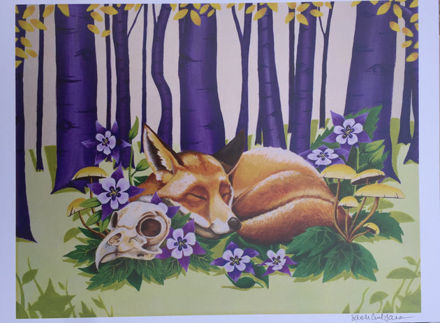 """Sleeping Fox"" Print by Sarah Curl-Larson  $25"