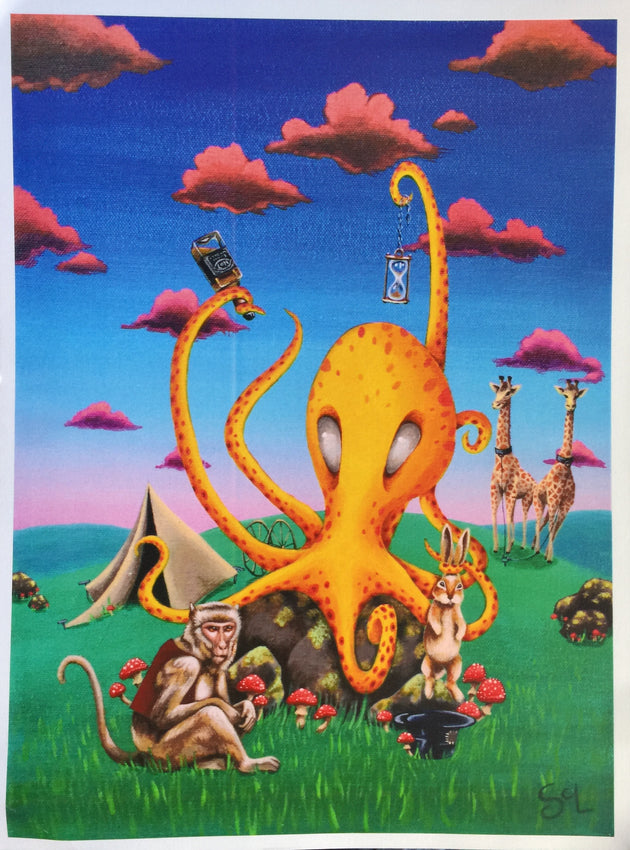 """Menagerie of a Traveling Octopus"" Print by Sarah Curl-Larson  $25"