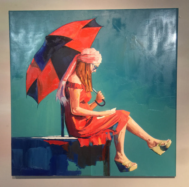 """Big Red Umbrella"" by Shannon Kincade $5500"