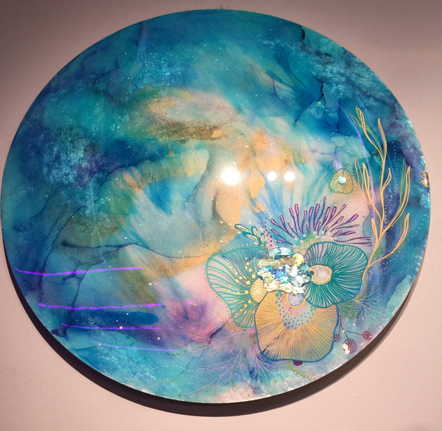 """Teal Meditations"" by Artist 'till Death Studio  $425"