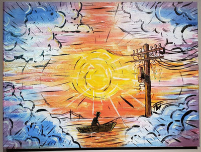 """A boat, sunset, and telephone pole"" by Chase Fleischman, William Bubba Flint, & David Pech"