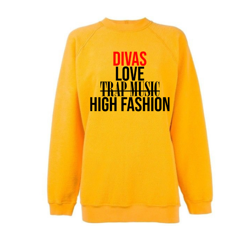Divas Love High Fashion Sweatshirt - Gold/Yellow