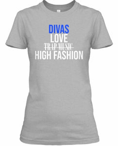 Divas Love High Fashion Tee - Grey/Blue
