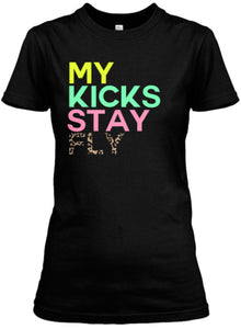 My Kicks Stay Fly Tee - Black (Nike Air Max 90) Neon/Seagreen/Pink/Leopard)