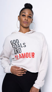 God, Goals, and Glamour Hoodie - Oatmeal (Cropped)