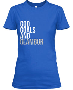 God, Goals, and Glamour Tee - Blue/Glitter