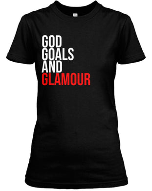 God, Goals, and Glamour Tee - Black/Red
