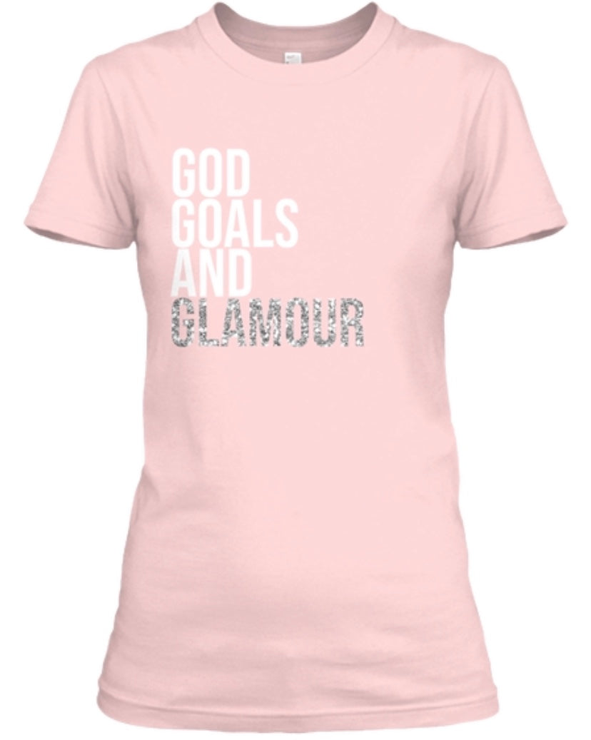 God, Goals, and Glamour Tee - Pink/Silver Glitter