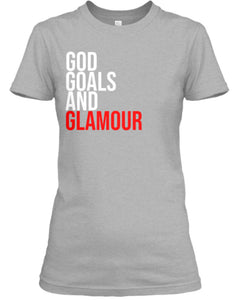 God, Goals, and Glamour Tee - Grey/Red