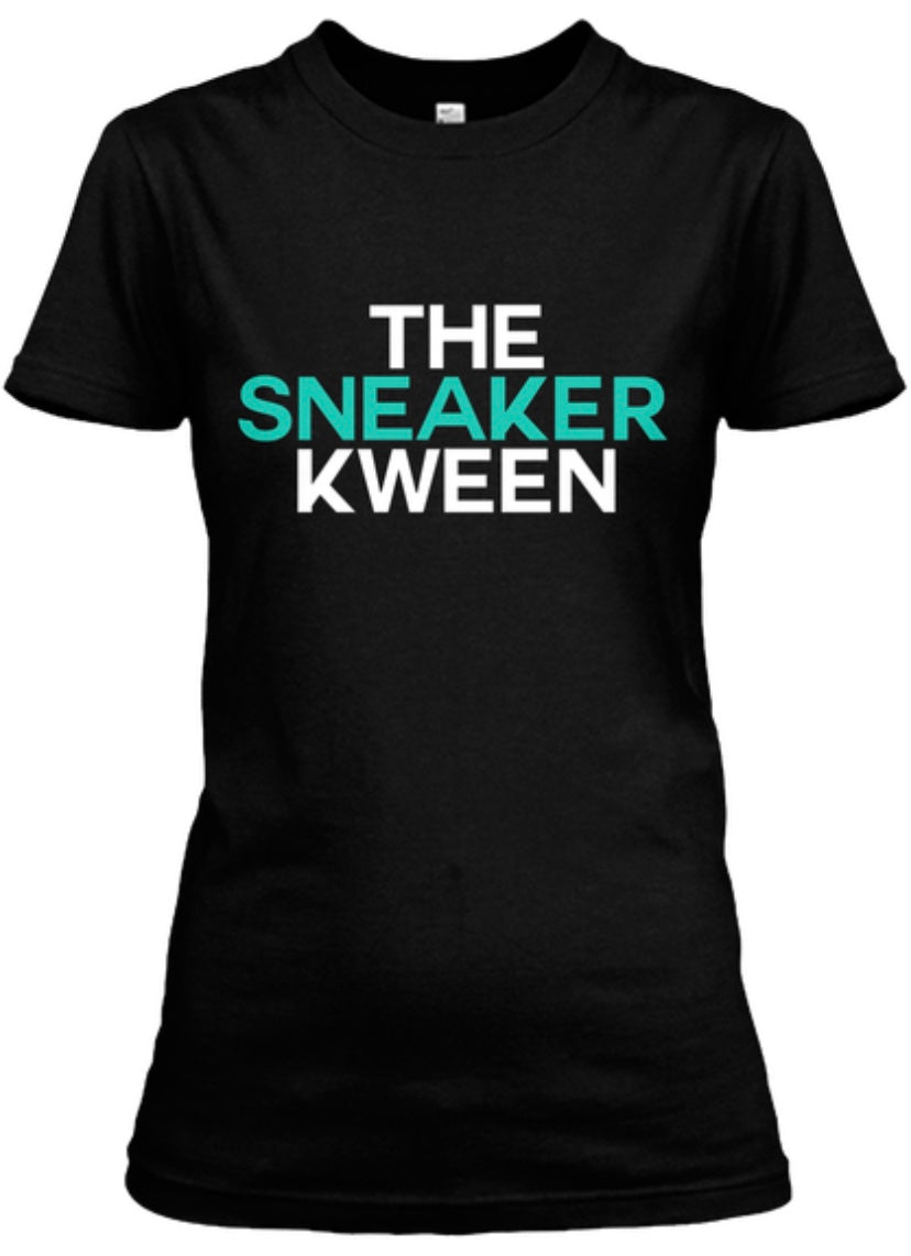 The Sneaker Kween Tee - Black/White/Jade