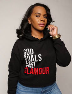 God, Goals, and Glamour Cropped Hoodie - Black/Red