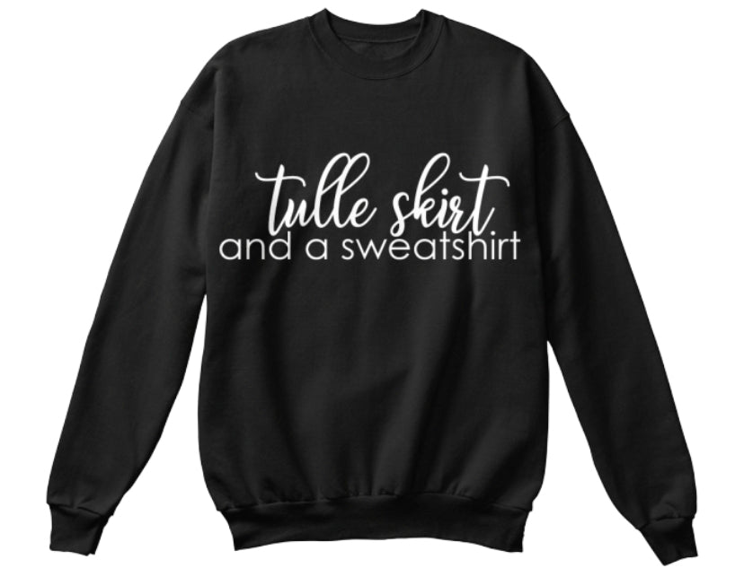 Tulle Skirt and a Sweatshirt - Black
