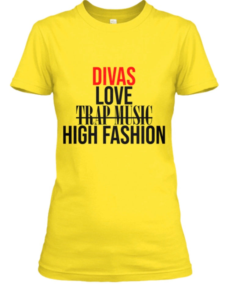 Divas Love High Fashion Tee - Yellow