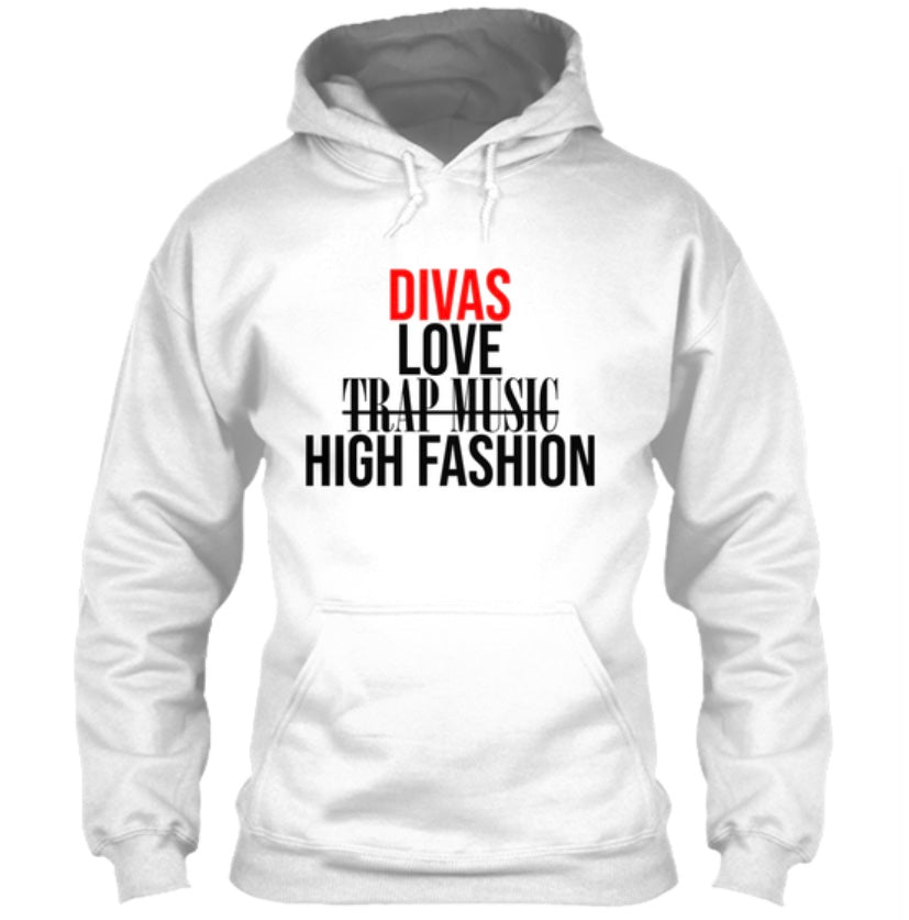 Divas Love High Fashion Hoodie - White (Red)