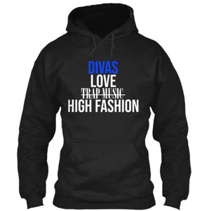 Divas Love High Fashion Hoodie - Black (Blue)