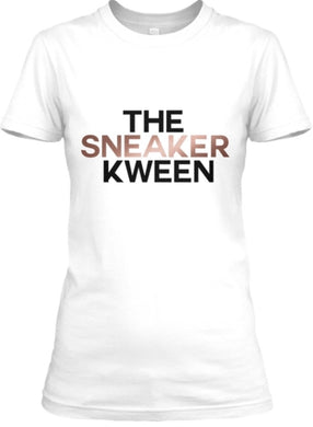The Sneaker Kween Tee - White Black/Rose Gold