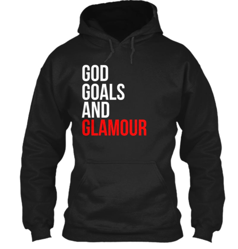 God, Goals, and Glamour Hoodie - Black/Red