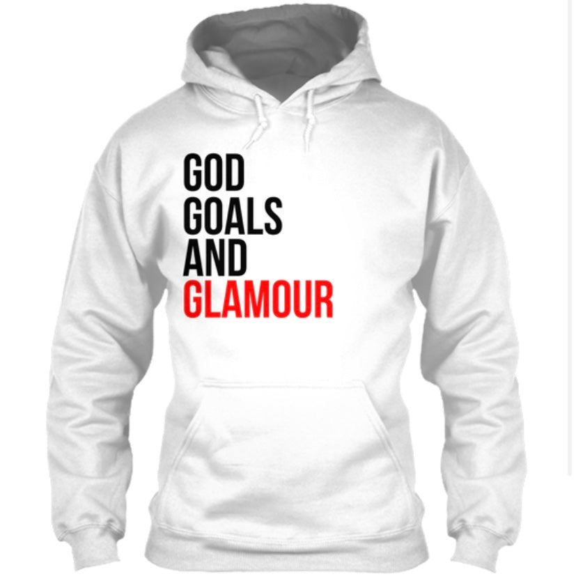 God, Goals, and Glamour Hoodie - White/Red