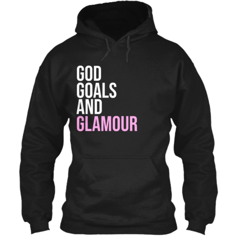 God, Goals, and Glamour Hoodie - Black/Pink