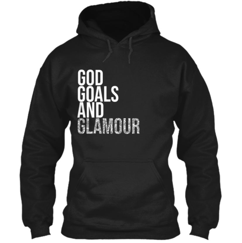 God, Goals, and Glamour Hoodie - Black/Silver Glitter