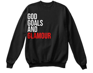 God, Goals, and Glamour Sweatshirt - Black/Red