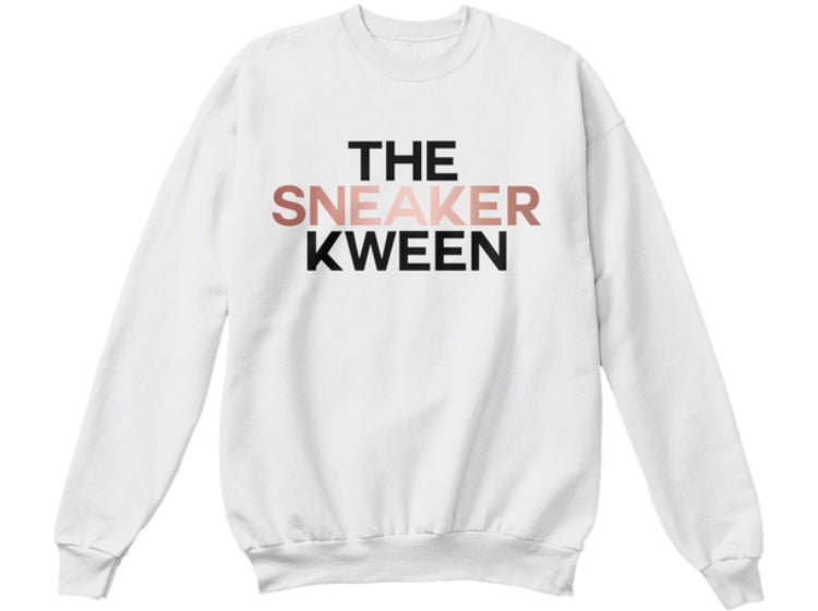 The Sneaker Kween Sweatshirt - White (Rose Gold/Black)