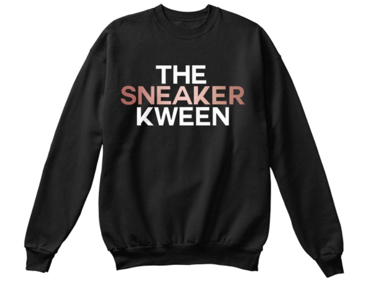 The Sneaker Kween Sweatshirt - Black (Rose Gold/White)