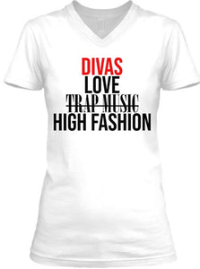 Divas Love High Fashion Tee - V Neck - White (Red)