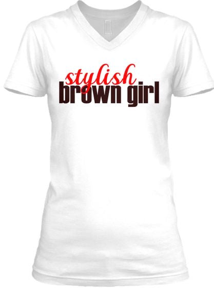 Stylish Brown Girl Tee - V Neck