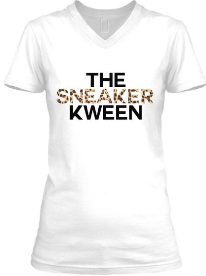 The Sneaker Kween Tee - V Neck - Leopard