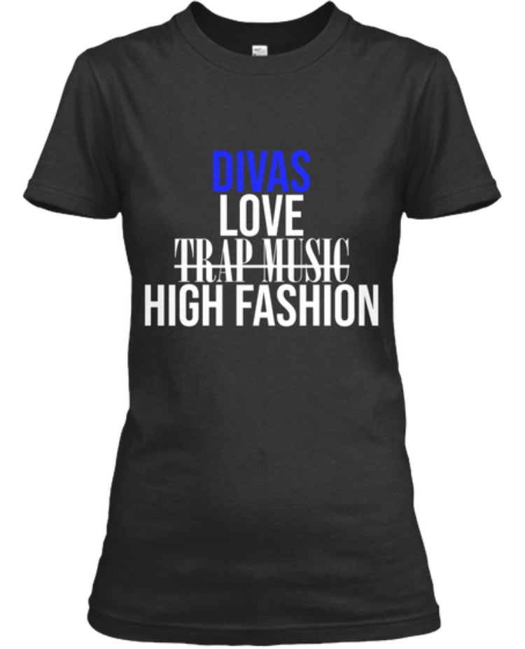 Divas Love High Fashion Tee - Black/Blue