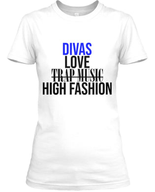 Divas Love High Fashion Tee - White Blue/Black