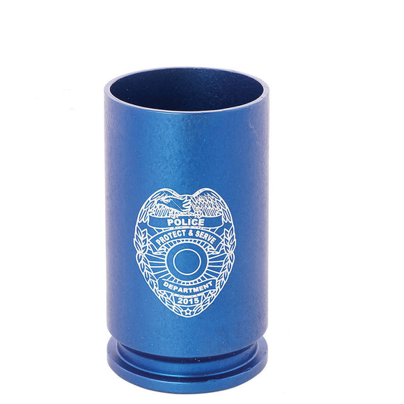 2 Monkey Trading 30mm A-10 Spirit Shot Glass, Police Shield / Blue