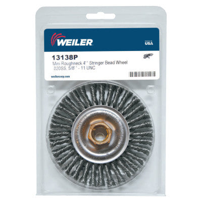 Weiler Roughneck® Stringer Bead Wheel, 4 in D x 3/16 W, .02 Stainless Wire, Retail Pack