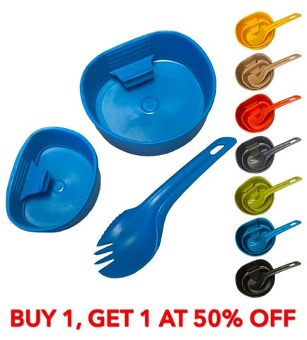 Wildo Outdoor Camping Fold-A-Cup Kit - Spork & Small / Big Cup