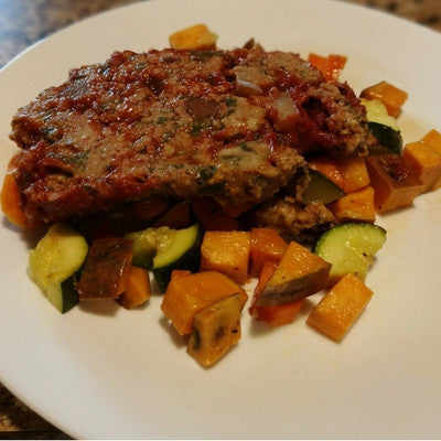 BBQ TURKEY MEATLOAF WITH ROASTED SEASON VEGETABLES.