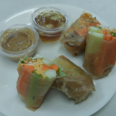 FRESH RAW SPRING ROLLS with Hummus