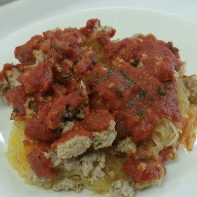 SPAGHETTI SQUASH WITH GROUND TURKEY MARINARA