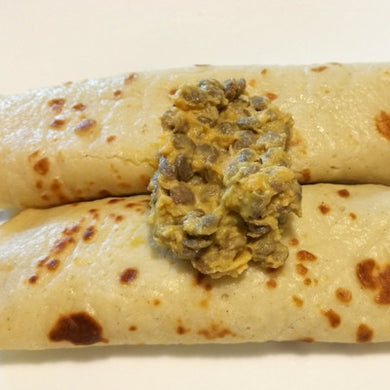 CREPES STUFFED WITH HUMMUS & LENTILS