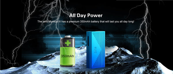 350mAh battery that will easily last you all day long and it recharges in only 1-2 hours from 0%.
