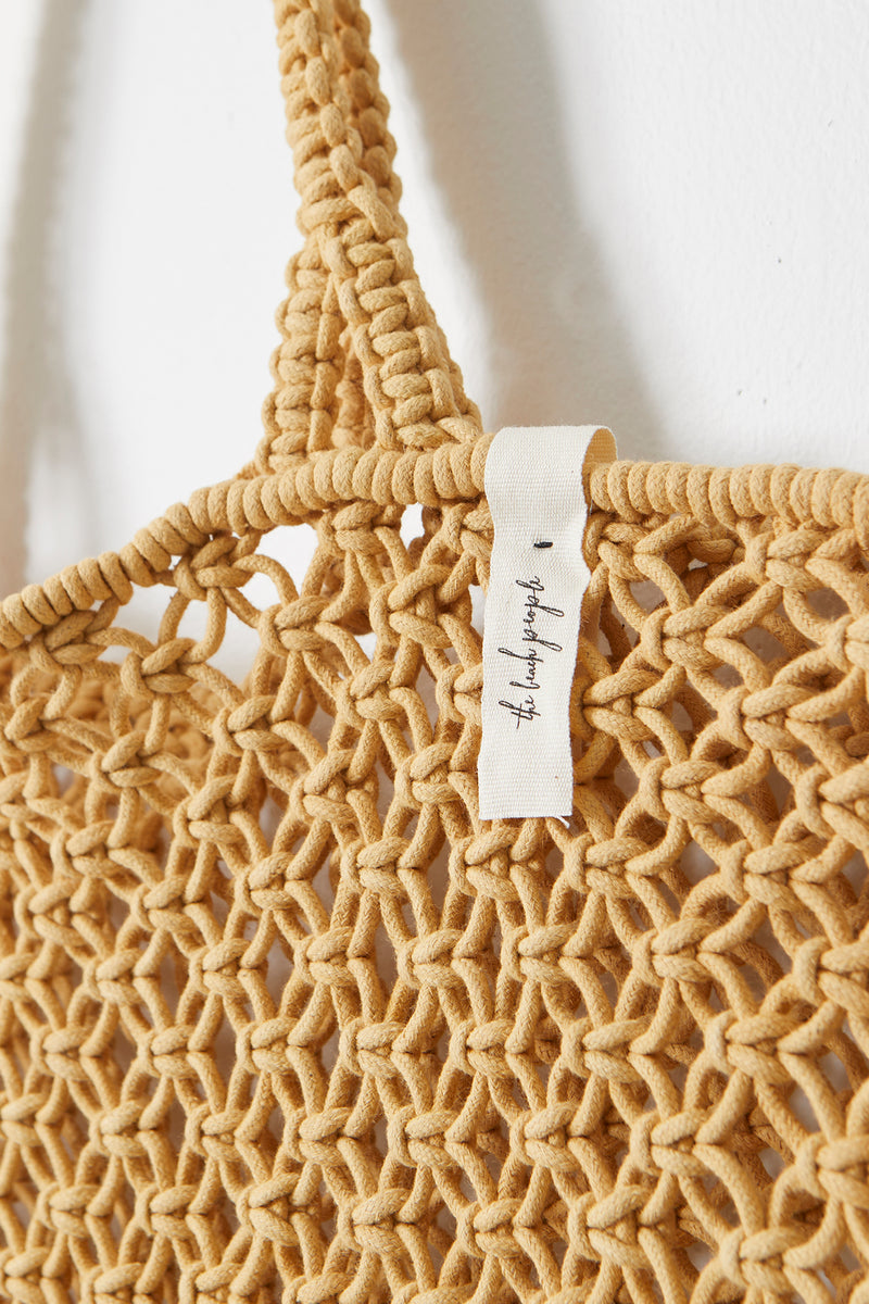 The Beach People Macrame Tote Bag, Natural Mustard