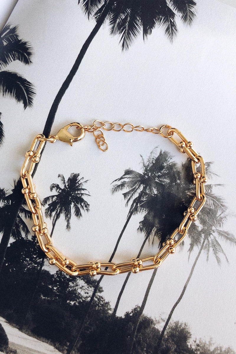 Gold Plated Brass Bracelet, Gold