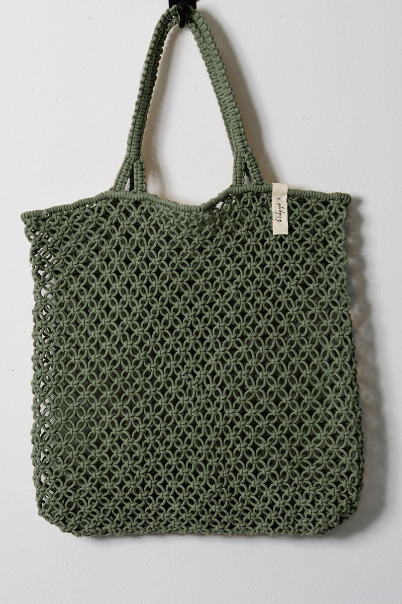 The Beach People Macrame Tote Bag, Khaki Green