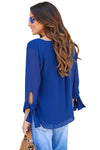Womens V Neck Tie Sleeve Blouse Blue Top Sheer Blue Blouse 70s style