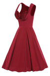 Retro Collared Dress • Sweetheart Neck • Maroon