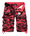 Mens Cargo Shorts • Red Camo Print
