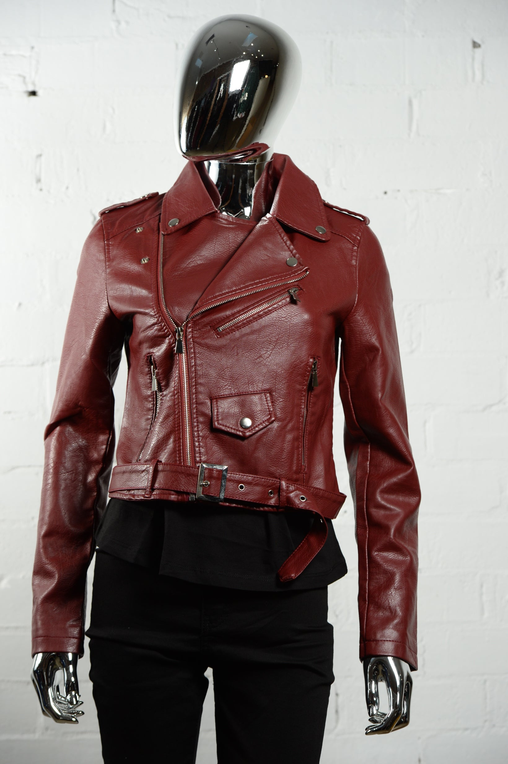 b36fd074eb0c Faux Leather Biker Jacket • Wine Red
