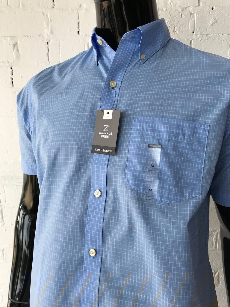 d4eef1a17c5 Men s Short Sleeve shirt • Light Blue with White Grid Pattern