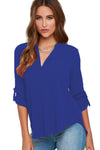 Womens V Neck Chiffon Blouse • Royal Blue