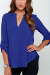 V Neck Loose Fitting Chiffon Blouse • Royal Blue